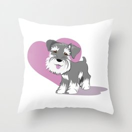 Miniature Schnauzer Puppy Dog Adorable Baby Love Throw Pillow