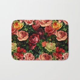 Vintage & Shabby chic - floral roses flowers rose Bath Mat