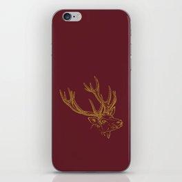 Deer Burgundy Gold iPhone Skin