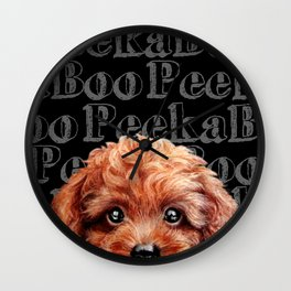 Peek A Boo, Toy poodle, redish brown tone Wall Clock