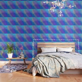 Rainbow Ombre Pattern with Blue Background Wallpaper