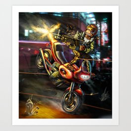 Kowloon Night Biker Art Print