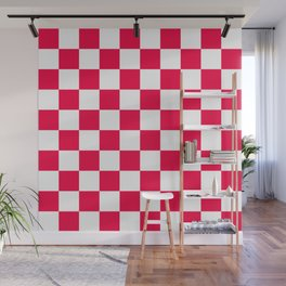 Cheerful Red Checkerboard Pattern Wall Mural
