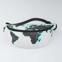 World Map Turquoise Paint and Black Ink Fanny Pack