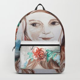 girl with flower and umbrela Backpack