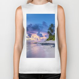 Picturesque Beach View (Color) Biker Tank