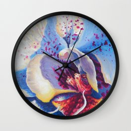 White Orchid Acrylic Painting Wall Clock