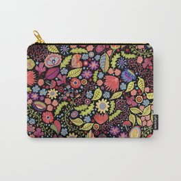Happy Floral Black Carry-All Pouch