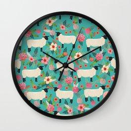 Sheep farm rescue sanctuary floral animal pattern nature lover vegan art Wall Clock