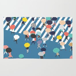 Crossing The Street On a Rainy Day - Blue Rug