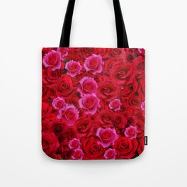 NATURE ART OF BED OF RED & PINK ROSE FLOWERS Tote Bag