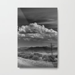 Roadside View along a Montana Road Highway in Black and White Metal Print