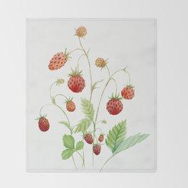 Wild Strawberries Throw Blanket