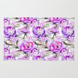 Modern lilac violet watercolor hand painted floral motif Rug