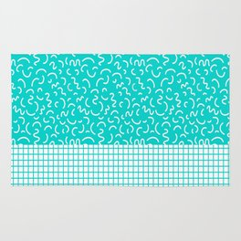 Hockney - Bright blue, memphis, 80s, 90s, swimming pool, summer turquoise design cell phone, phone  Rug
