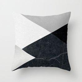 Geometrics - marble & silver Throw Pillow