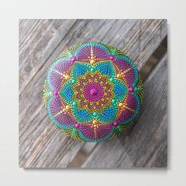Hand painted mandala stone Metal Print