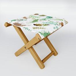 Green Leaves, Paint Splatter, Pattern Folding Stool