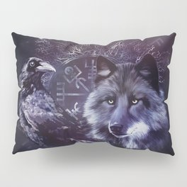 Raven and Wolf - Vegvisir and Tree of life Pillow Sham
