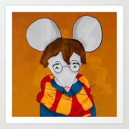 Morris the mouse wearing a scarf Art Print