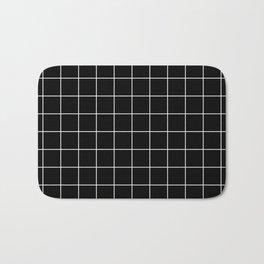 Grid Simple Line Black Minimalistic Bath Mat