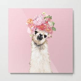 Llama with Flower Crown Metal Print