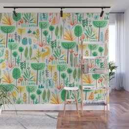 Jungle life with golden unicorn Wall Mural
