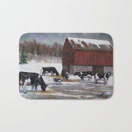 Holstein Dairy Cows in Snowy Barnyard; Winter Farm Scene No. 2 Bath Mat