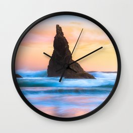 Wizard's Hat At Sunset, Bandon Beach, Oregon Wall Clock