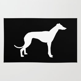 Greyhound square black and white minimal dog silhouette dog breed pattern Rug