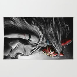 Miyazaki's Mononoke Hime Digital Painting the Wolf Princess Warrior Color Variation Rug