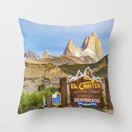 El Chalten Town Entrance, Patagonia - Argentina Throw Pillow