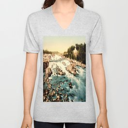 Vintage Rocky Waterfall. Creek Landscape Photo Unisex V-Neck