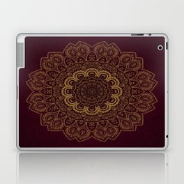 Gold Mandala on Royal Red Background Laptop & iPad Skin
