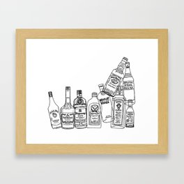 Alcohol Bottles (White) Framed Art Print