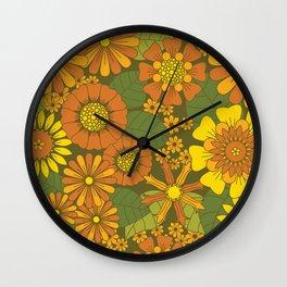 Orange, Brown, Yellow and Green Retro Daisy Pattern Wall Clock