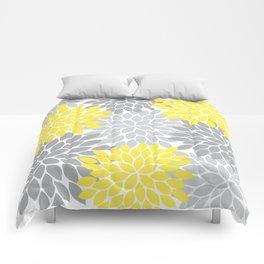 Yellow Gray Flower Burst Petals Floral Pattern Comforters