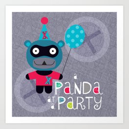 Party Panda (grey) Art Print