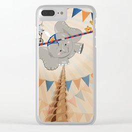 Elephant on tightrope Clear iPhone Case