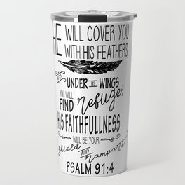 Psalm 91:4 Christian Bible Verse Typography Design Travel Mug