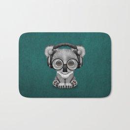 Cute Baby Koala Bear Dj Wearing Headphones on Blue Bath Mat