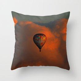 Balloon flight at sunset Throw Pillow