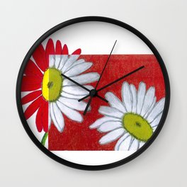 Daisies in red Wall Clock