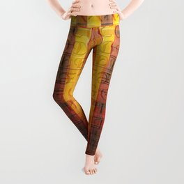 Pattern with the alphabet and hot colors in stripes Leggings