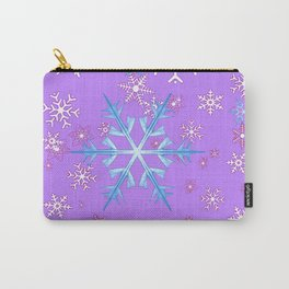 LILAC PURPLE WINTER SNOWFLAKES Carry-All Pouch