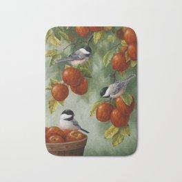 Chickadees and Apple Tree Harvest Bath Mat