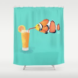 The Clown Fish Drinks Shower Curtain
