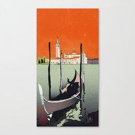 Venice gondola at sundown, Venedig, Venezia Canvas Print