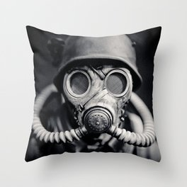German Solider in a Gas Mask from World War II Throw Pillow