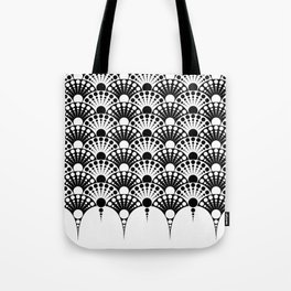 black and white art deco inspired fan pattern Tote Bag